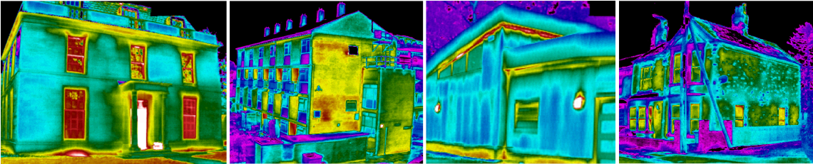 thermal images of historic buildings, social housing, new build and refurbishment work