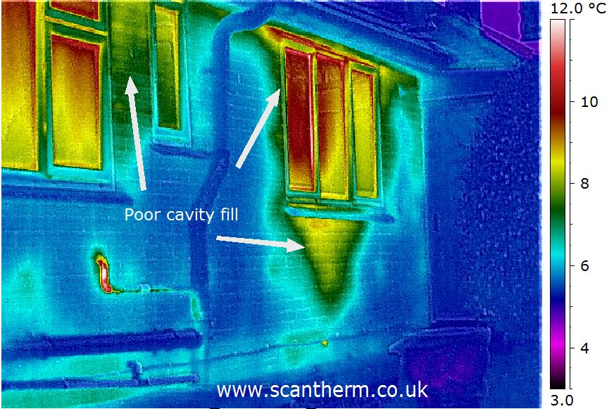Scantherm thermal image of depleted cavity wall insulation
